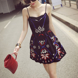 Tribal Embroidery Graphic Bustier Skater Mini Braces Dress