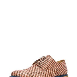 Carven - Straw Derby Shoes in Orange & Blue