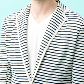 green label relaxing - BORDER KNIT JACKET