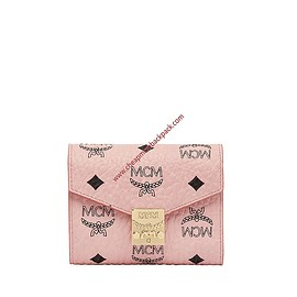 MCM - MCM Small Patricia Visetos Trifold Wallet In Light Pink