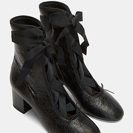VALENTINO - women's cracked block heeled ballerina boots in black
