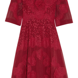 DOLCE&GABBANA - Appliquéd tulle and lace dress