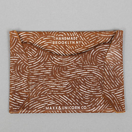 "MAXX & UNICORN / The Hill-Side - BROWN LEATHER CARD HOLDER ""Ocean print"""