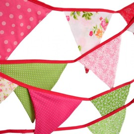 Luulla - Eco-Friendly Reusable Fabric Bunting, Banner, Pennant, Flag, Garland, Photo Prop, Decoration, Wedding - Garden Party in Pink and Green