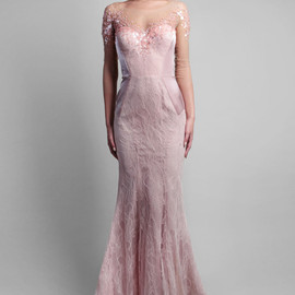 gemy maalouf - pale pink gown illusion neckline sleeves