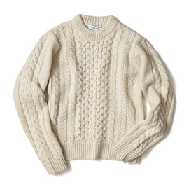 HEAD PORTER PLUS - FISHERMANS KNIT OFF WHITE