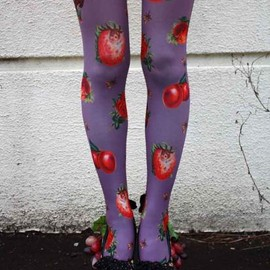 Eine Lilie - Bugs & Furits Tights -Purple (フルーツと虫タイツ -パープル)