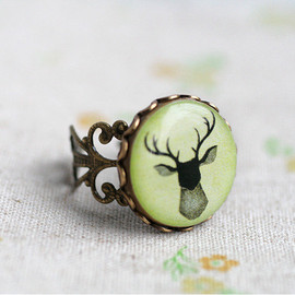 SecretFind - Deer gentleman ring - gift for her, girl, forest, green, horns, silhouette - free shipping etsy