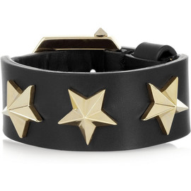 GIVENCHY - Star black leather bracelet