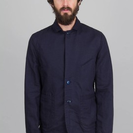 Folk - Taped Jacket - Navy Linen and Cotton Twill