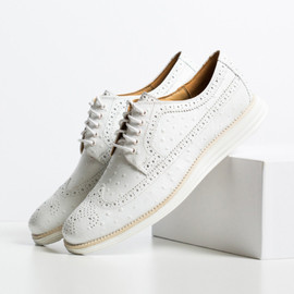 Cole Haan - Cole Haan LunarGrand Long Wingtip in White Ostrich Leather