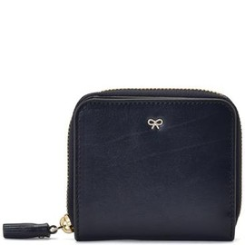ANYA HINDMARCH - Medium Zip Round Wallet Navy High Shine Leather スモールレザーグッズ
