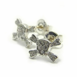 Loree Rodkin - small flat pave skull stud earrings/ピアス