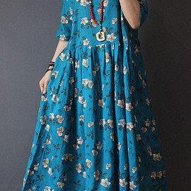 long maxi dress - blue round collar long maxi dress Women Holiday Dresses Flower dress