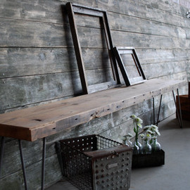reclaimed wood work table connected
