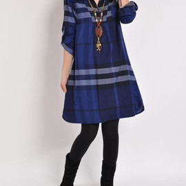 dress - Women dress / Leisure Lattice dress / Cotton tunic Knee length dress