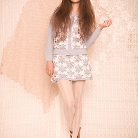 nadesico - Flower motif knitted cardigan and skirt