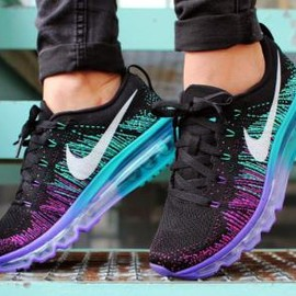 Nike - NIKE WMNS FLYKNIT MAX BLACK/WHITE-PURPLE VENOM-TURBO GREEN
