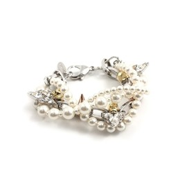 Joomi Lim - Image of London Calling 2-tone Skull & Crystal Bracelet W/Pearls - Rhodium/Gold/Rose Gold Spikes
