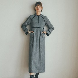 clane - HOUNDSTOOTH PIPING ONE PIECE