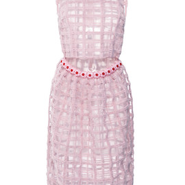 SIMONE ROCHA - Pink Brushed Wool Check Beaded Dress