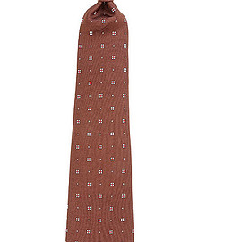 Kiton - brown silk patterned tie seven fold