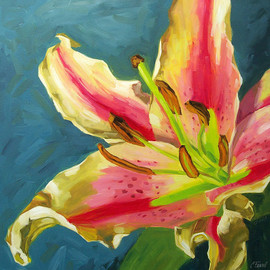 "Luulla - Large floral giclee on canvas with gallery wrap, 30x30 art print, from an original oil painting, ""Celebration Lily"""