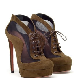 AZZEDINE ALAÏA - Suede and mesh shoe boots