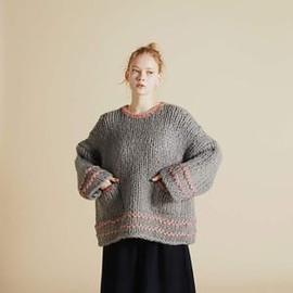 F/CE. - OVERSIZED CHUNKY HAND KNIT GRAY/RED/BEIGE
