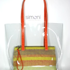 Luulla - I love Colours Hand-woven purse in Plastic bag and orange handles.