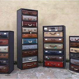 Vintage Charm Captured in a Metal Framework: Suitcase Drawers