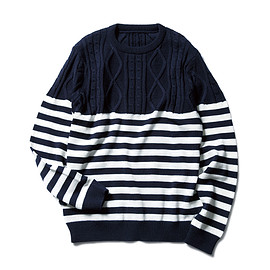 SOPHNET. - CABLE BORDER CREW NECK KNIT