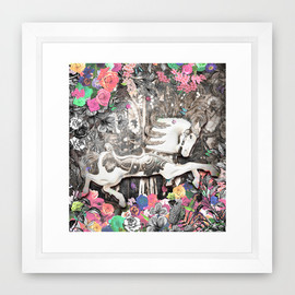 csera surface design - Vintage Pop Up Book Fairground  - From 'Circus' Textile Collection Framed Art Print