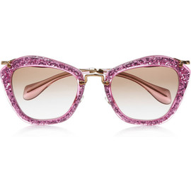 miu miu - Cat eye glittered acetate and metal sunglasses