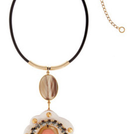 MARNI - Leather and brass necklace