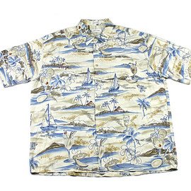 VINTAGE - Vintage 90s Pierre Cardin Rayon Sailing Scene Hawaiian Shirt Mens Size XL