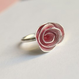 meltemsem - Summer Pink Enamel Metalwork Rose Ring