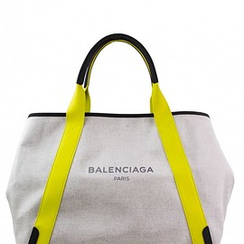 BALENCIAGA - Balenciaga ecru cotton canvas and yellow detail Cabas M tote bag