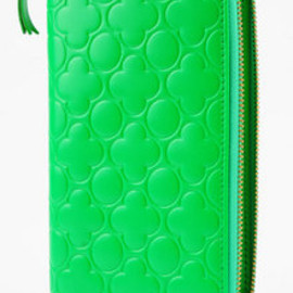 COMME des GARCONS - Clover Embossed Full Zip Wallet in Green