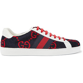 GUCCI - Ace Leather-Trimmed Logo-Print Terry Sneakers