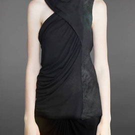 Rick Owens - SLEEVELESS DRAPED TOP WITH LEATHER PANEL