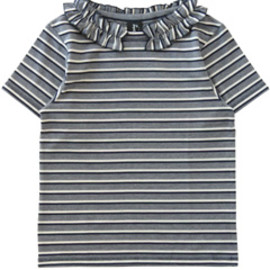 karen walker - Frill Stripe Tee (navy/cream)