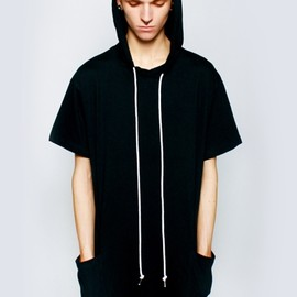 LONG CLOTHING - Unisex Hooded Tee(black, white cord)