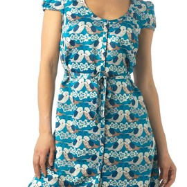 Therapy Budgie print dress Blue  セキセイドレス