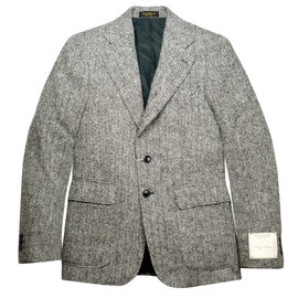 RRL - RRL GRAY HERRINGBONE HARRIS TWEED 3B TAILORD JACKET