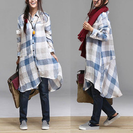 etsy - Washed linen plaid long-sleeved shirt / lapel irregular Long Shirt