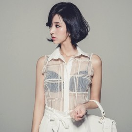 LUXE ASIAN - Luxe Asian Women Korean Model Fashion Style Check See Through White Blouse