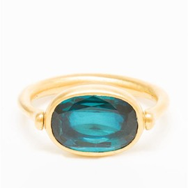 MARIE HÉLÈNE DE TAILLAC - 22k Gold and Blue Tourmaline Swivel Ring