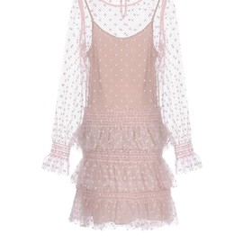 RED VALENTINO - Long sleeve dress in polka dot flock printed tulle