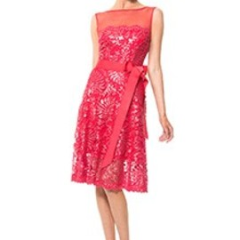 tadashi shoji - Mesh Illusion Paillette Embroidered Dress